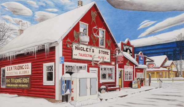 Nagley's is the first drawing in the Winter in Talkeetna street view series.