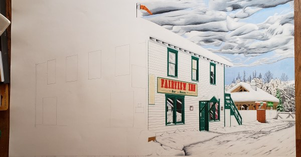The Fairview is the second drawing in the Winter in Talkeetna street view series.